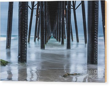 Pier Into The Ocean Wood Print by Leo Bounds