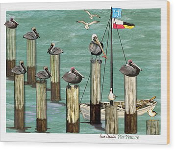 Wood Print featuring the painting Pier Pressure by Anne Beverley-Stamps