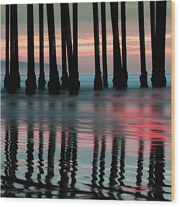 Wood Print featuring the photograph Pier Reflections - Ocean Sunset - California  by Gregory Ballos