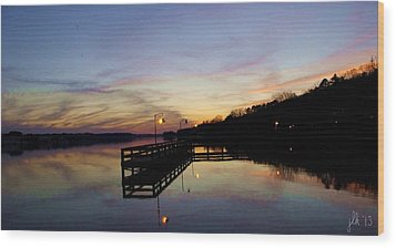 Pier Silhouetted In The Sunset On The Coosa River Wood Print by Lori Kingston