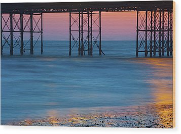 Pier Supports At Sunset I Wood Print
