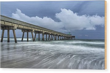 Pier Time Lapse Wood Print