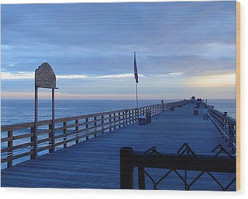 Pier View At Sunrise Wood Print by Cheryl Waugh Whitney