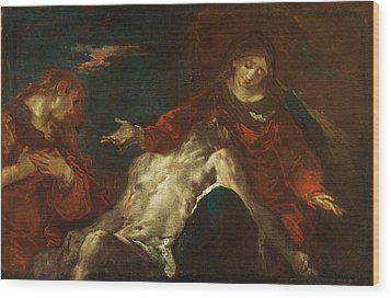 Wood Print featuring the painting Pieta With Mary Magdalene by Giuseppe Bazzani