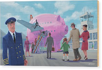 Wood Print featuring the digital art Pig Airline Airport by Martin Davey