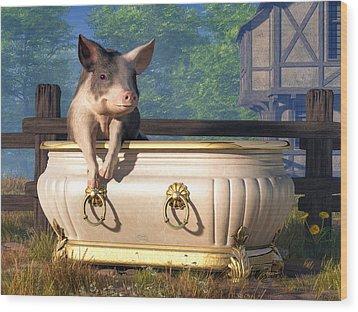 Wood Print featuring the digital art Pig In A Bathtub by Daniel Eskridge