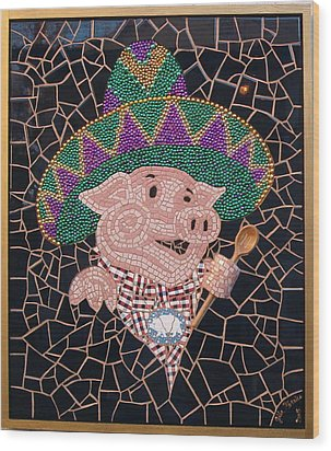 Pig In Sombrero Wood Print by Gila Rayberg