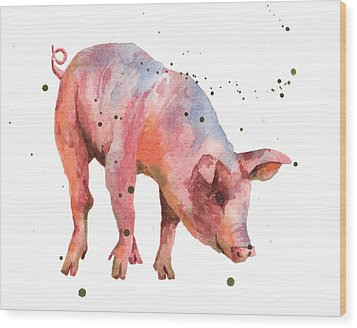 Pig Painting Wood Print by Alison Fennell