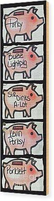 Wood Print featuring the photograph Pig Party by Joe Jake Pratt