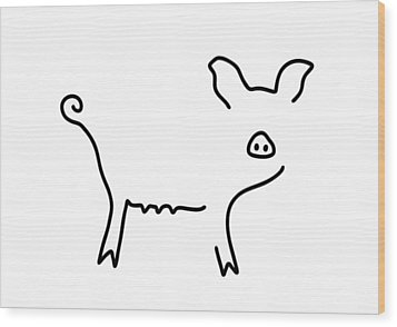 Pig Piglet Make A Mess Wood Print by Lineamentum