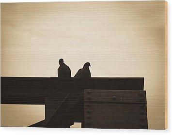 Pigeon And Steel Wood Print by Bob Orsillo