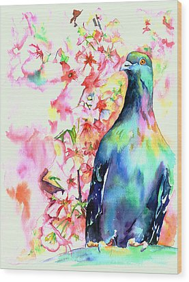Pigeon Eye Wood Print by Christy  Freeman