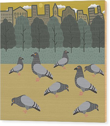 Pigeons Day Out Wood Print