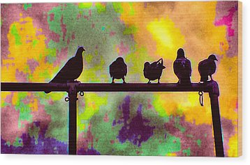 Pigeons In Abstract 2 Wood Print