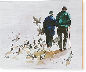 Pigeons 'n Pals Wood Print by Art Scholz
