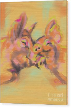 Piggy Love Wood Print by Go Van Kampen