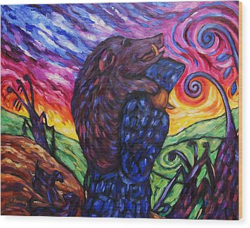 Wood Print featuring the painting Pighunter And Boar At Sunset by Dianne  Connolly