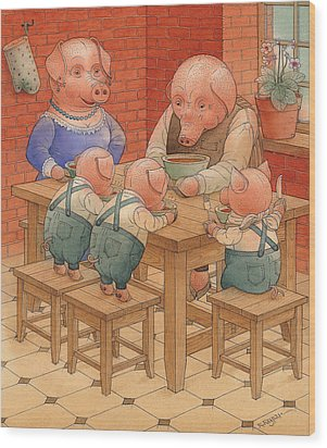 Pigs Wood Print by Kestutis Kasparavicius