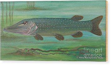 Pike Wood Print by Anna Folkartanna Maciejewska-Dyba