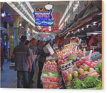 Wood Print featuring the photograph Pike Market Fruit Stand by Walter Fahmy