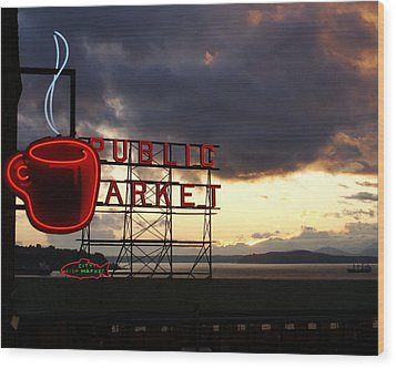 Pike Place Market Wood Print by Sonja Anderson