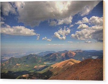 Pikes Peak Summit Wood Print by Shawn Everhart
