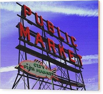 Pike's Place Market Wood Print by Nick Gustafson