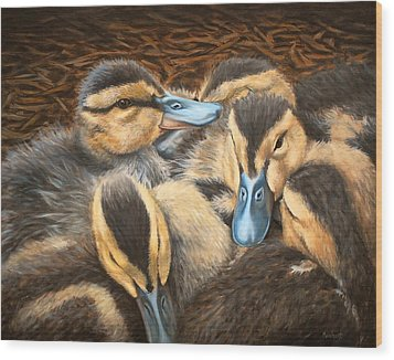 Pile O' Ducklings Wood Print