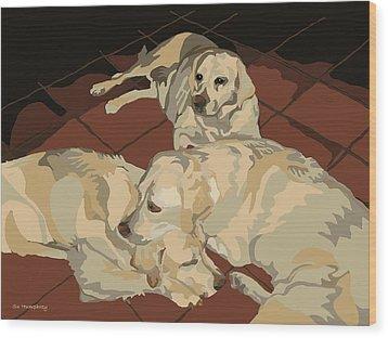 Pile Of Three Pups Wood Print by Su Humphrey