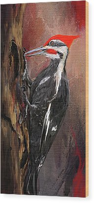 Pileated Woodpecker Art Wood Print by Lourry Legarde