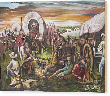 Wood Print featuring the painting Pilgrims On The Plain by Sigrid Tune