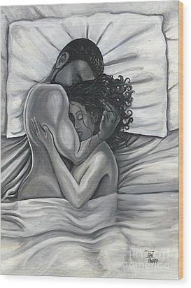 Pillow Talk Wood Print by Toni  Thorne