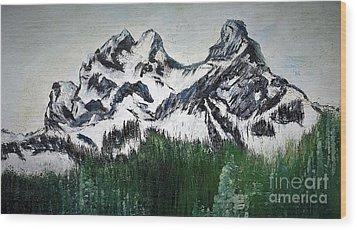 Pilot And Co-pilot Mountain Wood Print