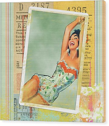 Pin Up Girl Square Wood Print by Edward Fielding