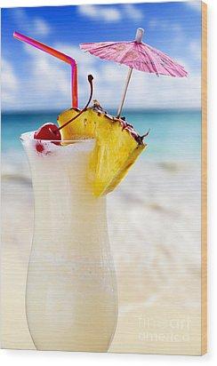Pina Colada Cocktail On The Beach Wood Print by Elena Elisseeva