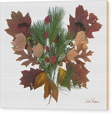 Wood Print featuring the digital art Pine And Leaf Bouquet by Lise Winne