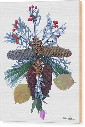 Wood Print featuring the digital art Pine Cone Bouquet by Lise Winne