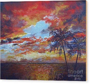 Wood Print featuring the painting Pine Island Sunset by Lou Ann Bagnall
