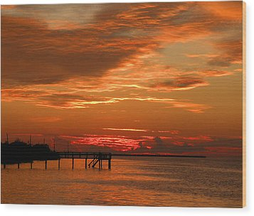 Pine Island Sunset Wood Print by Rosalie Scanlon