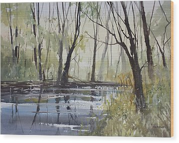 Pine River Reflections Wood Print