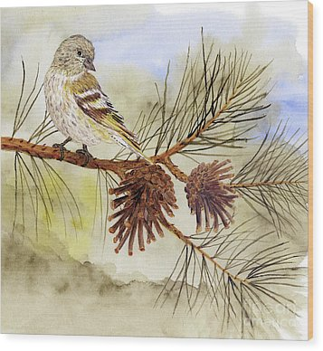 Wood Print featuring the painting Pine Siskin Among The Pinecones by Thom Glace