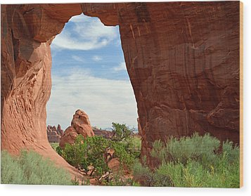 Wood Print featuring the photograph Pine Tree Arch In Utah by Bruce Gourley