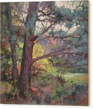 Pine Tree Dance Wood Print by Donna Shortt