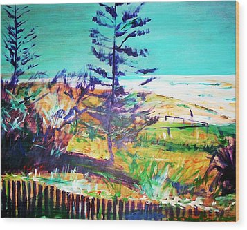Pine Tree Pandanus Wood Print by Winsome Gunning
