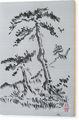 Pine Trees On Tokaido Road Wood Print