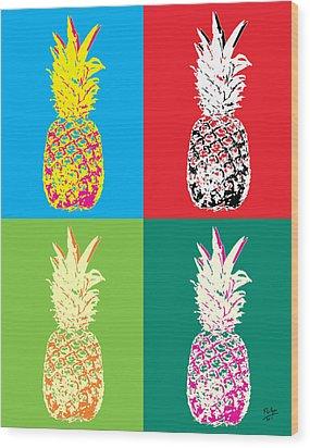 Pineapple 33 Wood Print by Flo Ryan