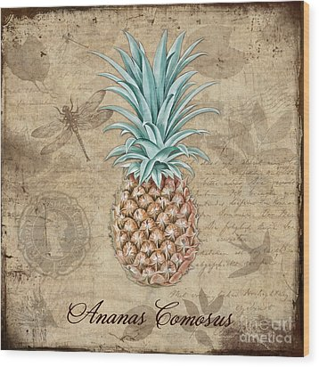 Pineapple, Ananas Comosus Vintage Botanicals Collection Wood Print by Tina Lavoie