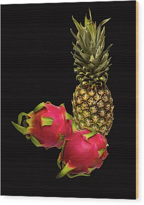 Wood Print featuring the photograph Pineapple And Dragon Fruit by David French