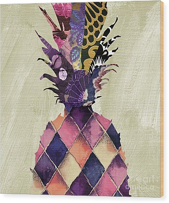 Pineapple Brocade II Wood Print by Mindy Sommers