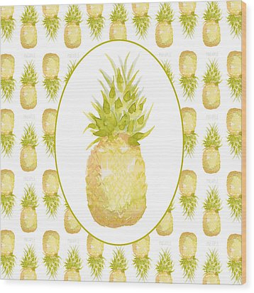 Wood Print featuring the painting Pineapple Cameo by Cindy Garber Iverson